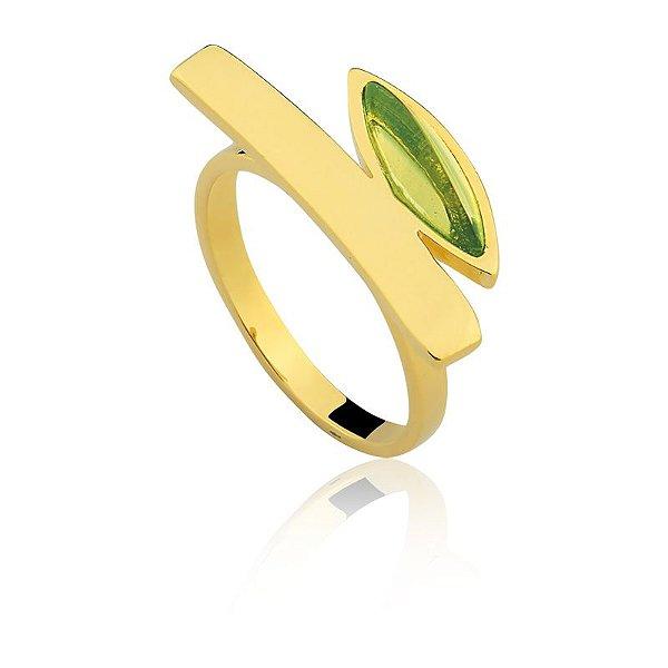 Anel 250 Ouro Quartzo Verde