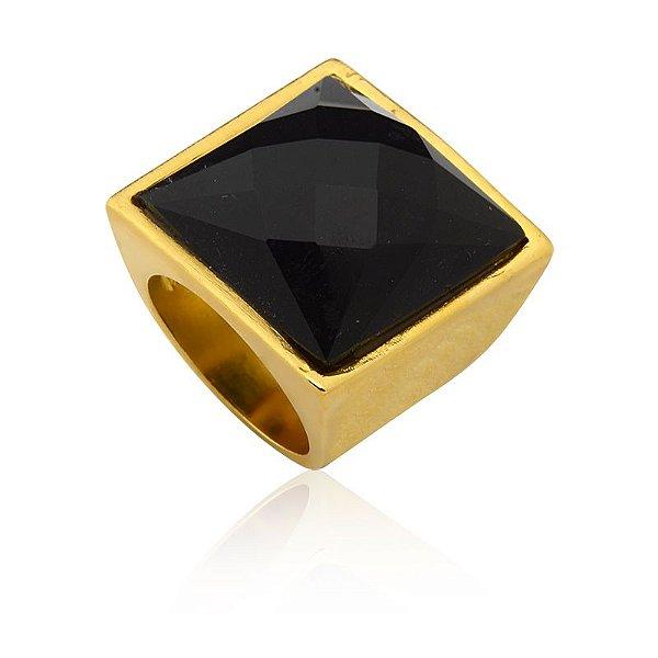 Anel 04 Ouro Quartzo Preto