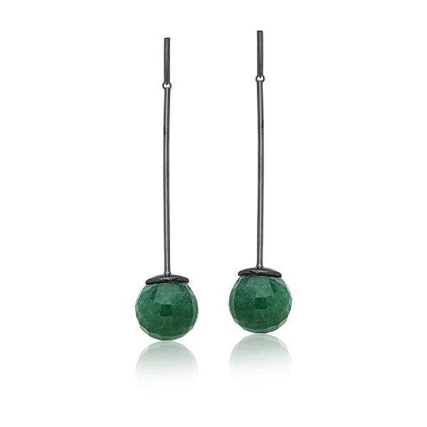 Brinco Bubbles 672 Ródio Negro Quartzo Verde