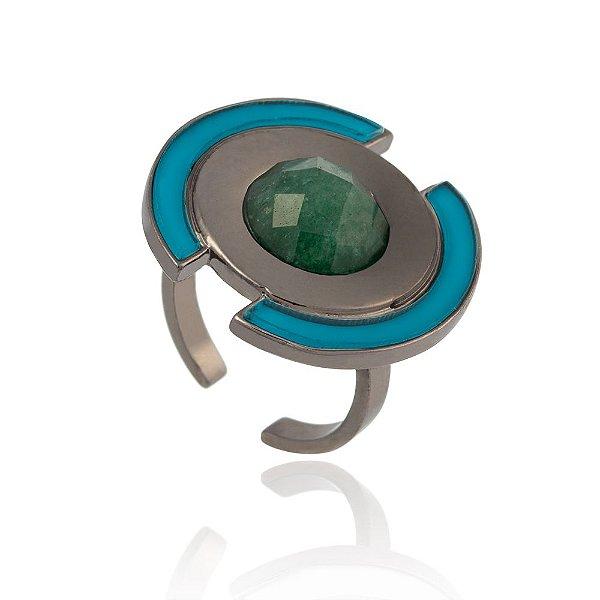 Anel Delaunay Ródio Negro Quartzo Verde Resina Azul