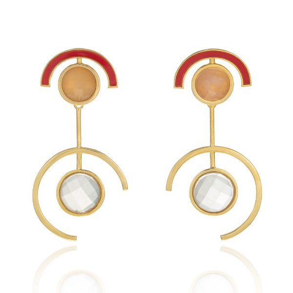 Brinco Delaunay 801 Ouro Quartzo Incolor Quartzo Laranja Resina Vermeha