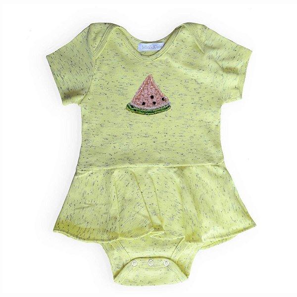 Body bebê saia amarelo