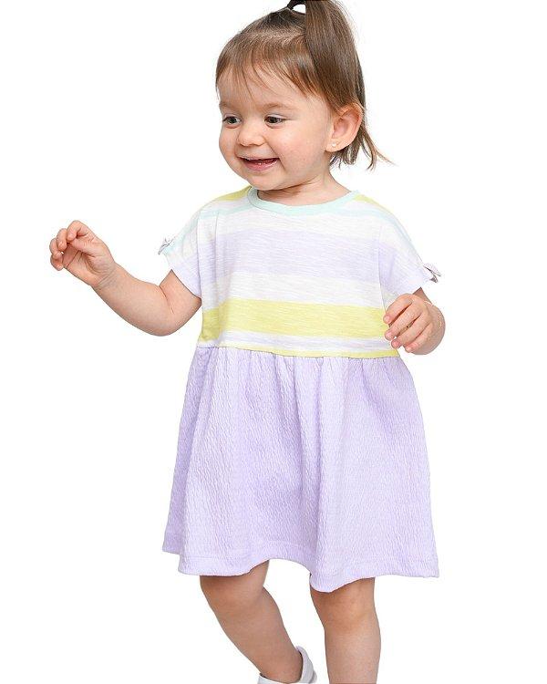 Vestido double stripe ana ruga lilás