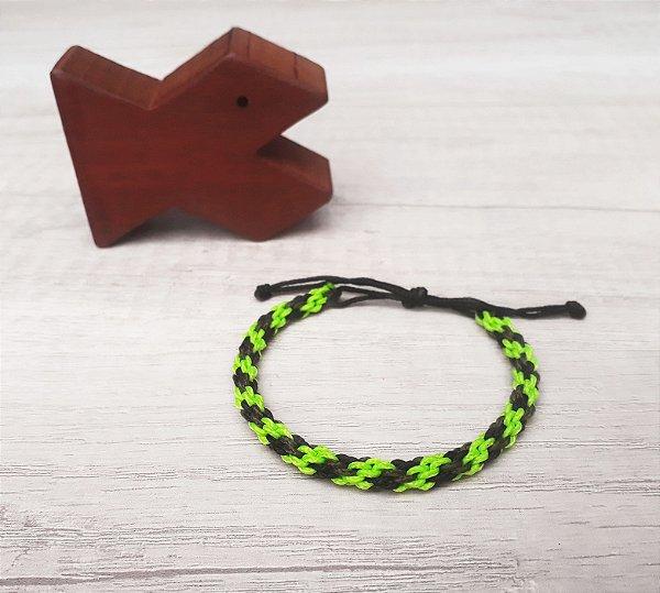 Pulseira Aloha - Verde Neon/Preto/Marrom