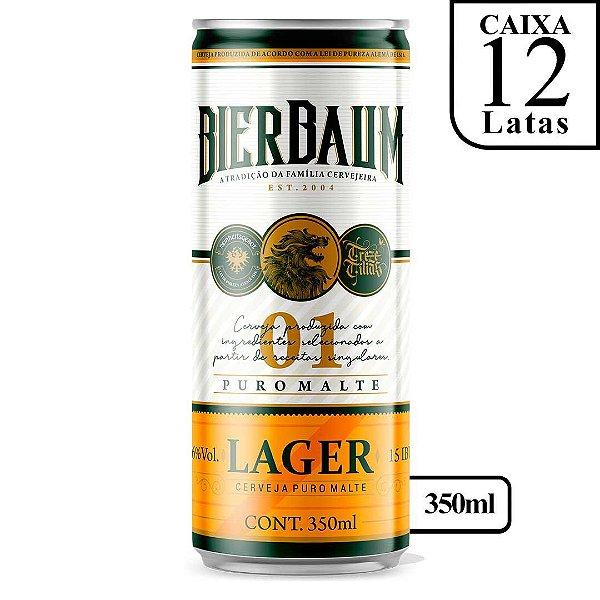 Caixa com 12 Cervejas Lager Bierbaum   Lata 350ml