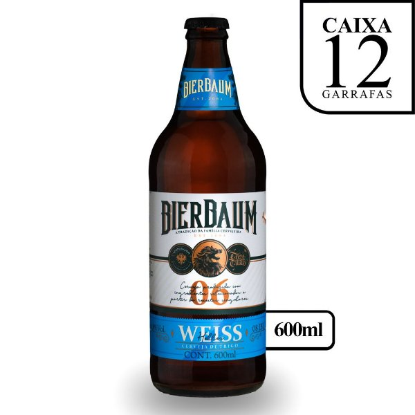 Caixa com 12 Cervejas Weiss Helles Bierbaum | Garrafa 600ml