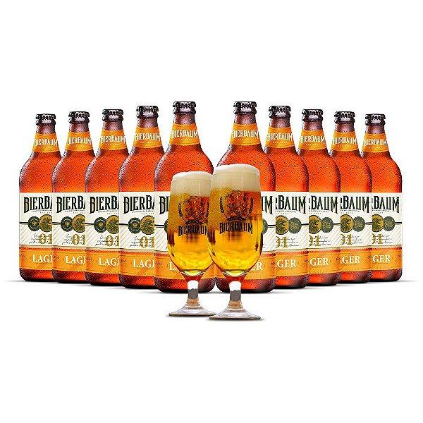 Kit com 10 Cervejas Lager Bierbaum + Duas Taças