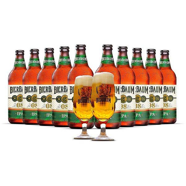 Kit com 10 Cervejas American IPA Bierbaum + Duas Taças