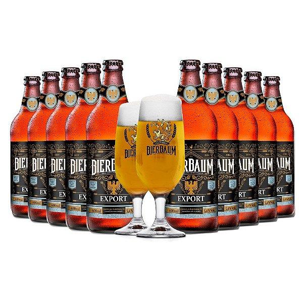 Kit com 10 Cervejas Export Bierbaum + Duas Taças