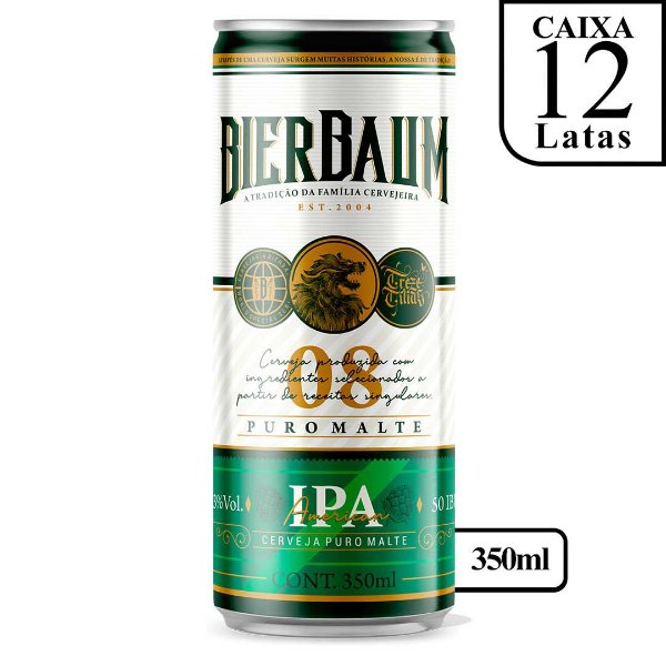 Caixa com 12 Cervejas American IPA Bierbaum | Lata 350ml