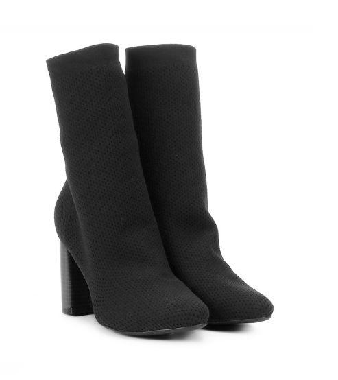 acddcff3c Bota Preta Meia Sock Boot Salto Grosso - SÓ MAIS UM SHOES - Sapatos ...