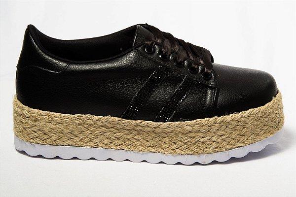 d4eac28eae Tênis Preto Flat Form Sisal Joy - SÓ MAIS UM SHOES - Sapatos e ...