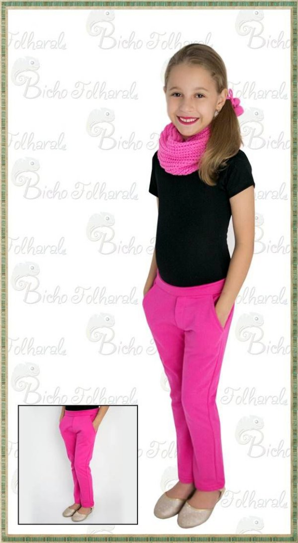 Calça Feminina Infantil em Moletom peluciado PINK com bolsos