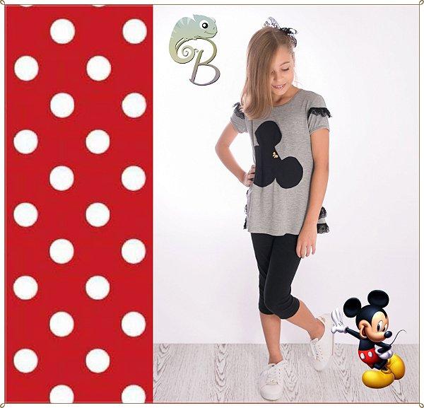 Conjunto Feminino Blusa em Malha Mescla com aplique Mickey e renda nas mangas + Legging Curta em cotton