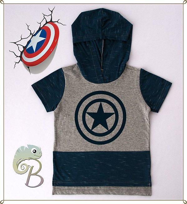 Camiseta Infantil em Malha Mescla com recortes e touca em Azul + Escudo Capitão América