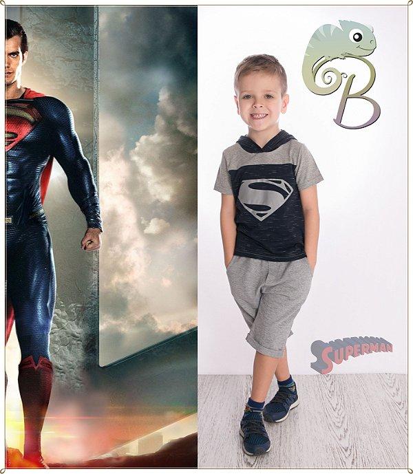 Camiseta Infantil Malha Mescla com detalhes e touca em Azul Marinho + estampa Superman