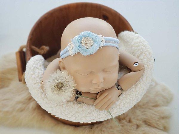 Headband Mara Azul Bebê (meia de seda)
