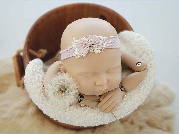 Headband Lacinho Rosa Nude