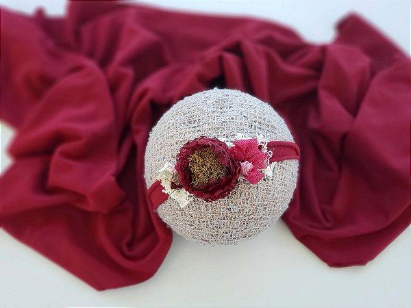 Wrap Malha com Headband Bordô