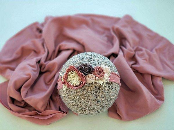 Wrap Malha com Headband Rosa Envelhecida