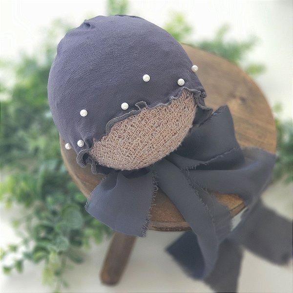Touca Malha com Perolas Cinza Escuro