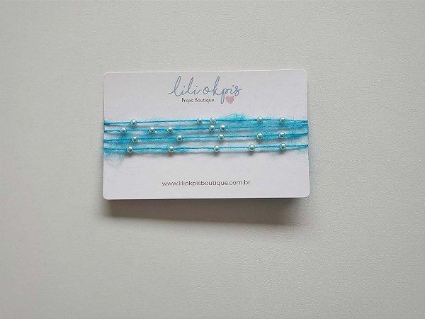Headband Perolas Azul Turquesa