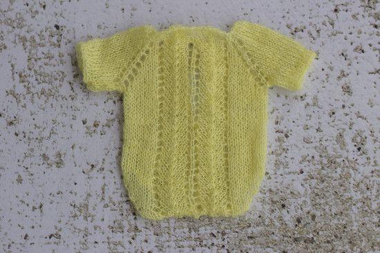 Body Trico Trabalhado Mohair Amarelo