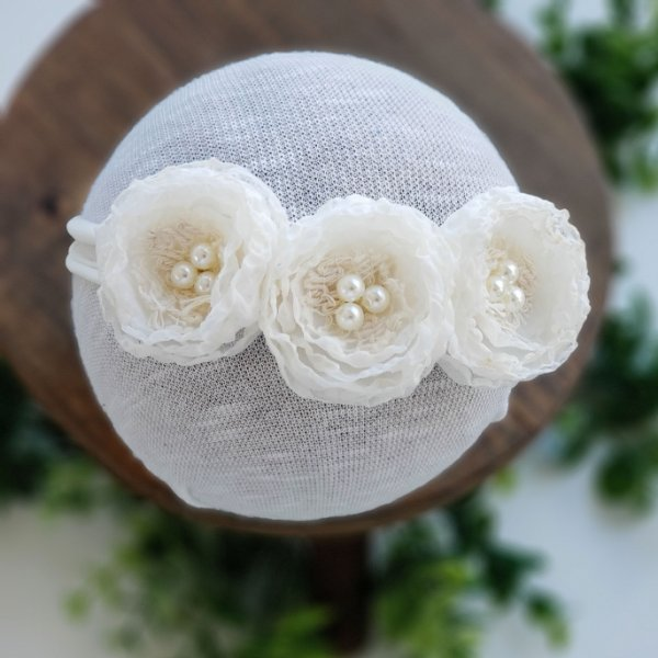 Headband Léia Branco Off (Meia de Seda)