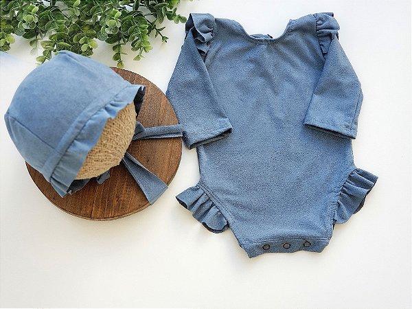 Conjunto Suede Azul Jeans Lavado