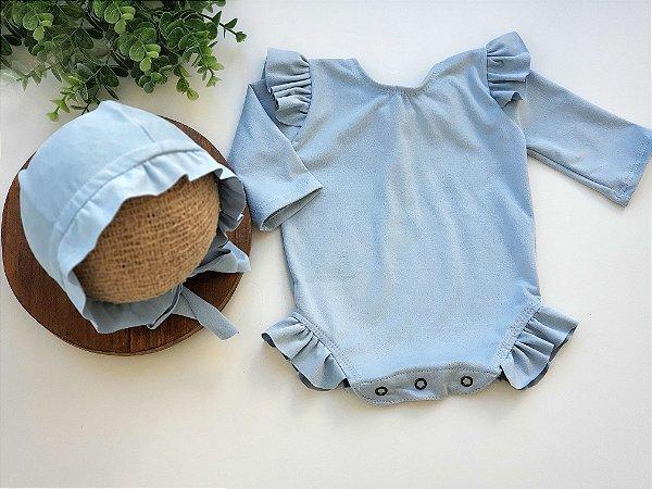 Conjunto Suede Azul Bebê