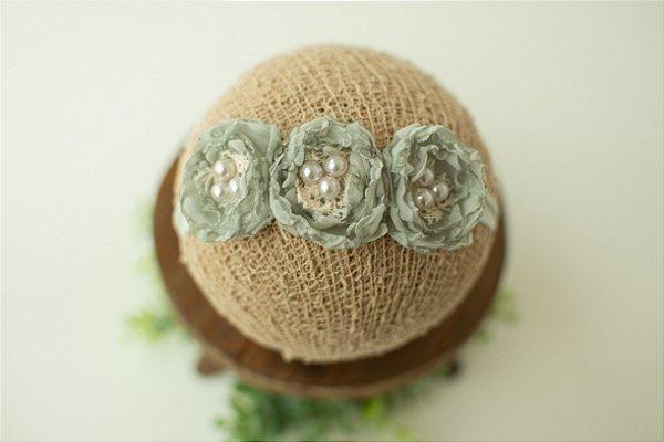Headband Léia Verde Sage (Tira de amarrar)