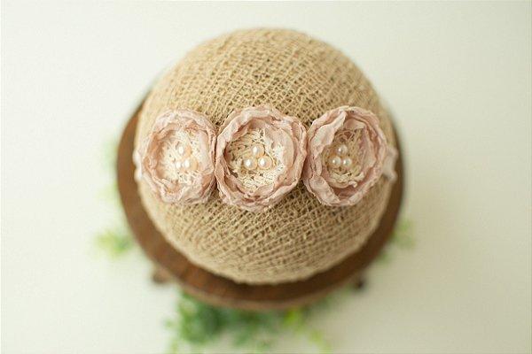 Headband Léia Rosa Nude (Tira de amarrar)