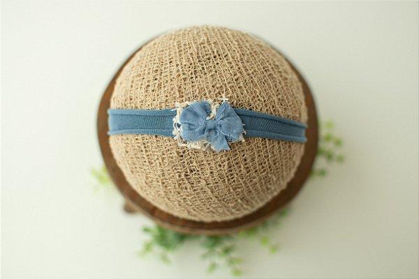 Headband Lacinho Azul Jeans