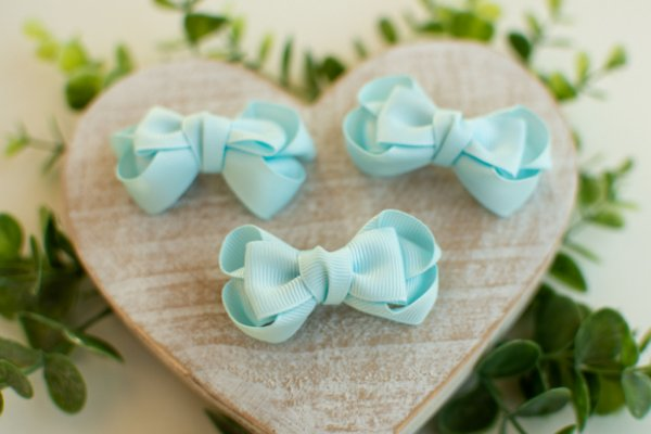 Mini Laço Boutique Gravatinha Azul Bebê