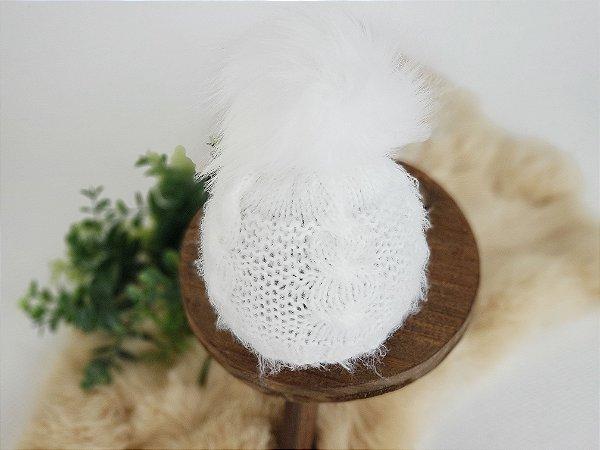 Touca Pompom Pêlo Branco