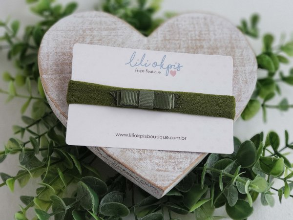 Laço Chanel Mini Verde Militar