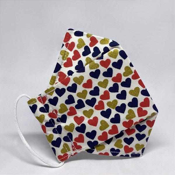 Máscara 3D Infantil de Corações Coloridos e Dourados