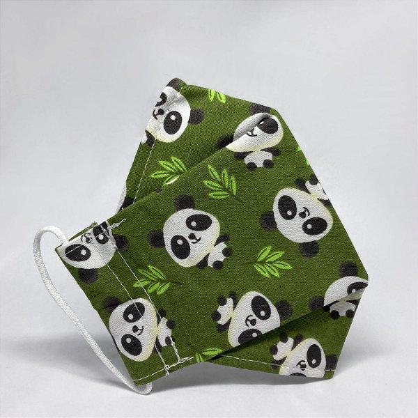 Máscara 3D Infantil Verde com Ursos Panda