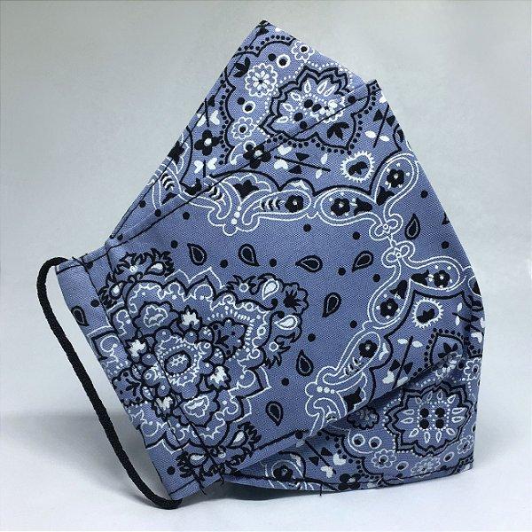 Máscara de Tecido 3d Bandana Azul - Tripla Camada