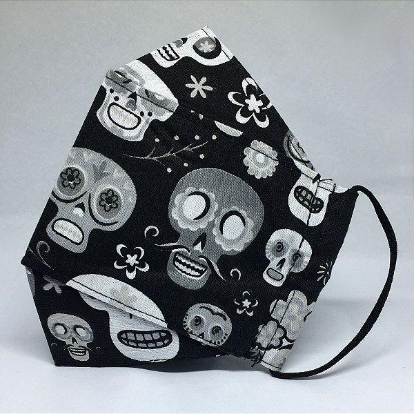 Máscara de Tecido 3d Caveira Mexicana - Modelo Tarja