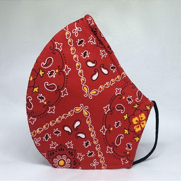 Máscara de Tecido Bico de Pato Bandana Vermelha - Modelo CT