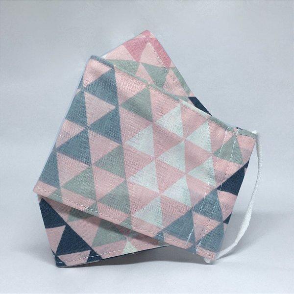 Máscara 3D Geométrico Rosa e Cinza - Tripla Camada