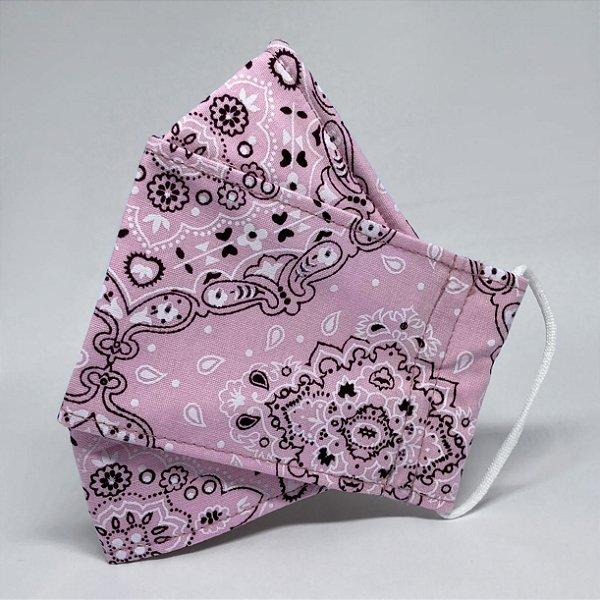 Máscara 3D de Bandana Rosa - Tripla Camada