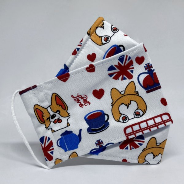 Máscara 3D Londres com Corgi e Chá- Tripla Camada