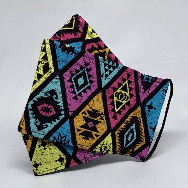 Máscara de Tecido 3D Estampa Étnica Color - Tripla Camada