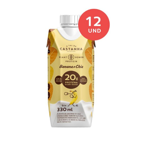 20 gramas Proteína - Plant Power Protein Banana+Chia 330ml - Caixa c/ 12 Unidades