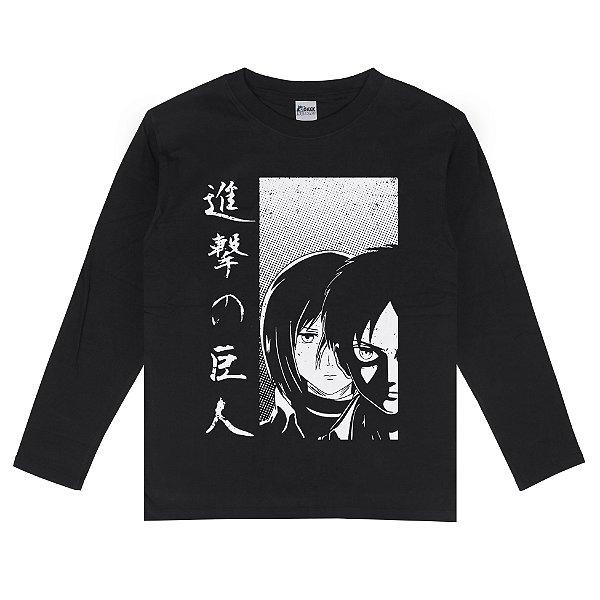 Camiseta Manga Longa Attack on Titan Eren e Mikasa