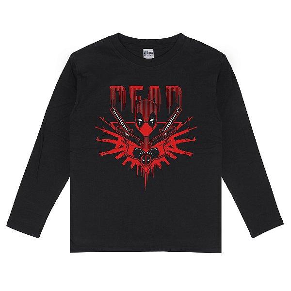 Camiseta Manga Longa Deadpool Senhor das Armas