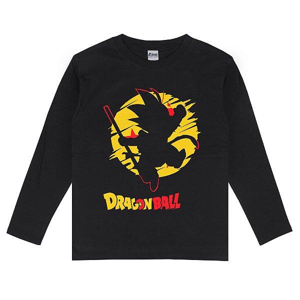 Camiseta Manga Longa Goku Bastão