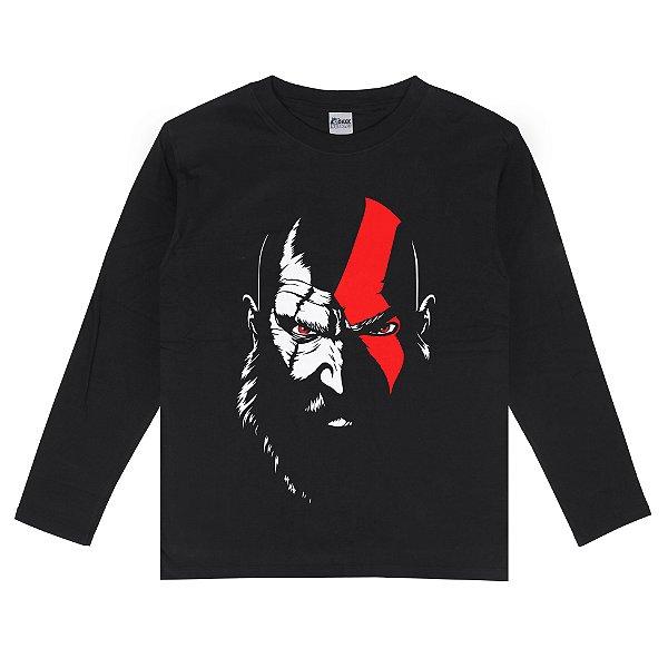 Camiseta Manga Longa God Of War 4 Kratos